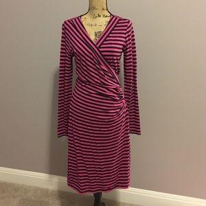 Faux wrap striped dress