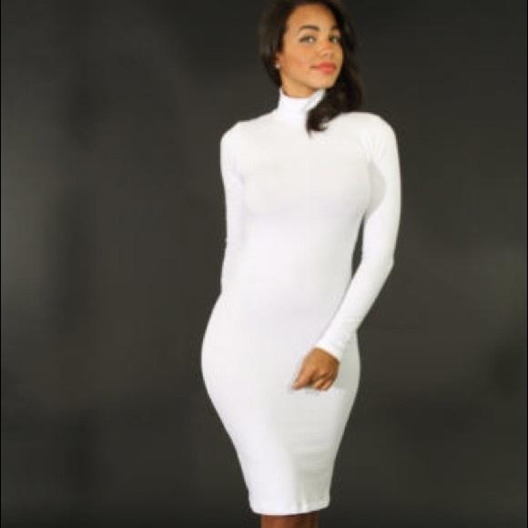 White Turtleneck Bodycon Dress from Marsha's closet on Poshmark