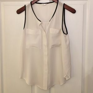 Club Monaco silk top with leather detailing