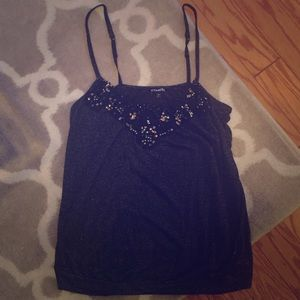 Small Beaded Sequin Express Black Tank Top