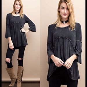 Tops - MINERAL WASHED BLACK BABYDOLL TOP