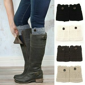 Knit Black Boot Cuffs with Buttons