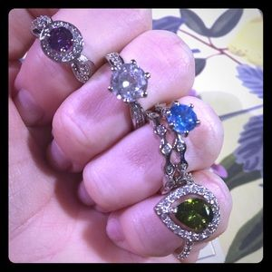 Set of 5 fragrant jewel candle rings