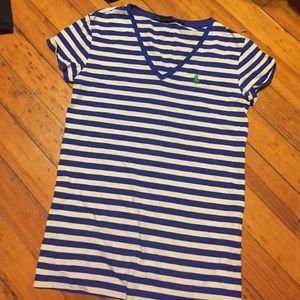 Ralph Lauren Tops - Blue and white striped v neck