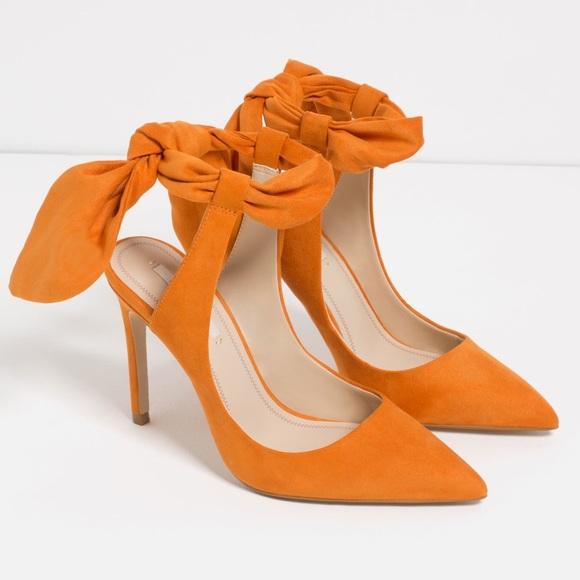 Zara Orange Bow Heels