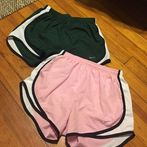 Drank green and light pink running shorts