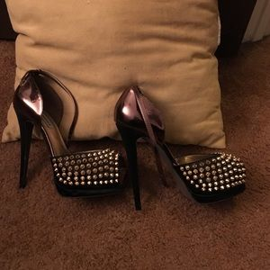 High ankle strap studded heels