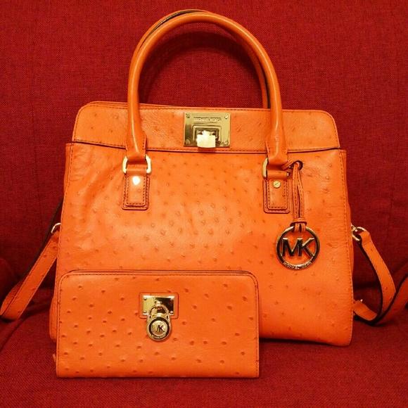 319854ed38a04c Michael Kors Astrid Tangerine Ostrich Leather Set.  M_583255032ba50acbbc096209
