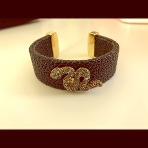 TASHA Leather Bracelet with Crystal Sneak