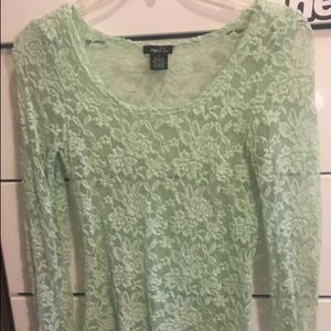 Mint lace long sleeve