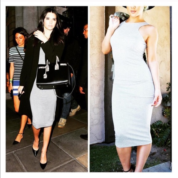 creme de la fame  Dresses & Skirts - CDLF GREY FITTED MIDI DRESS