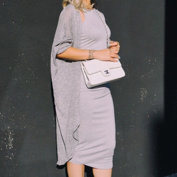 creme de la fame  Dresses - CDLF GREY FITTED MIDI DRESS