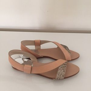 43a88c0b850 Zara Shoes - NWOT Zara Natural Tan Gold Glitter Flat Sandals 38