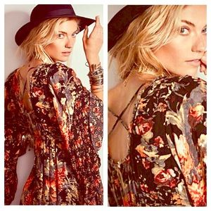 FREE PEOPLE Floral Gold Dress