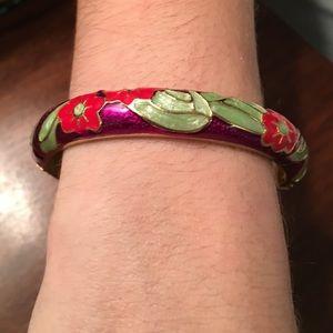 Floral Hinged Bangle Bracelet
