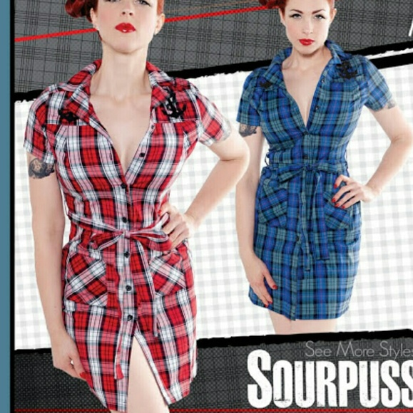 3f44007aac0 Sourpuss Clothing plaid nautical Jayne dress XL. M 5832652856b2d6e1b3099ff4