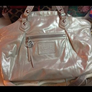 Coach Handbags - SALLEEE!-Coach Poppy collection sparkle/cream tote