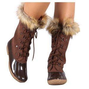 Shoes - ✨Fur Lace Up Duck Boots, Bootie