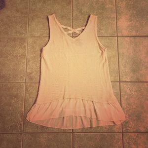 august silk Tops - Blush Sweater w/Chiffon Hem