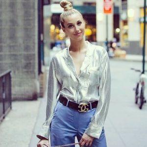 NWT H&M Premium Silk Blend Metallic Blouse