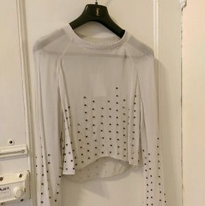 Sheer light gray cropped top/blouse