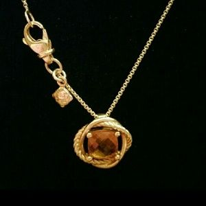 David Yurman 750/18K Gold Citrine Infinity Necklac