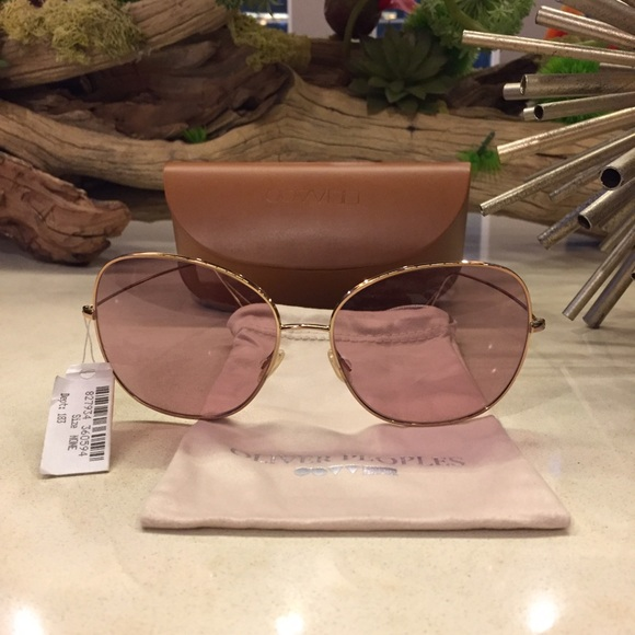 819fffd181 Oliver Peoples Rose Gold Aviator Sunglasses