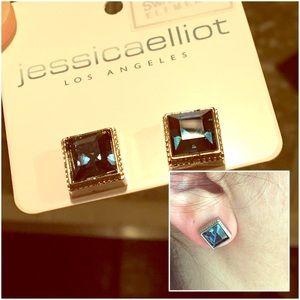 Swarovski Montana Blue Crystal Earrings ~ USA MADE