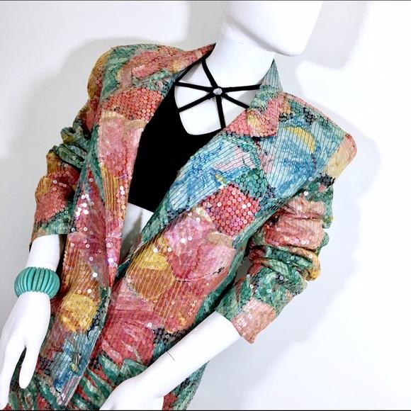 Vintage Jackets & Blazers - 🎁 Lew Magram Pastel Floral Garden Sequins Jacket