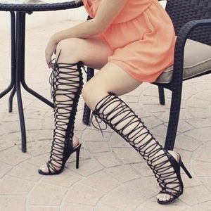 72% off Shoes - White laser cut tall gladiator heels from Jenn&39s