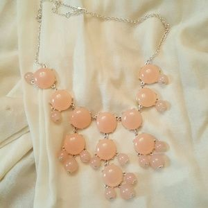 Pale pink bauble statement necklace
