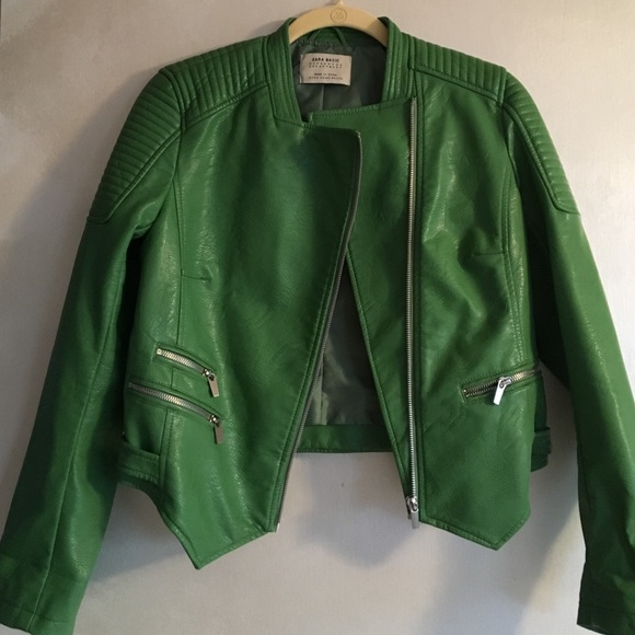 60% off Zara Jackets & Blazers - Zara Apple green faux leather ...