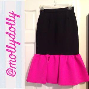 ASOS Dresses & Skirts - ASOS Black Hot Pink Peplum Scuba Knee Length Skirt