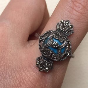 Vintage Jewelry - Solid 925 Silver Ring with Marcasite & Turquoise
