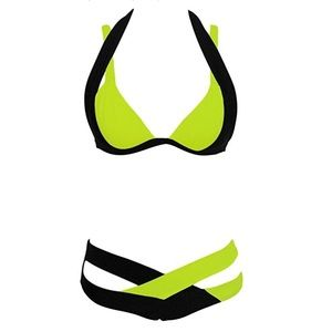 Other - NEVER WORN Lime Green & Black Bikini
