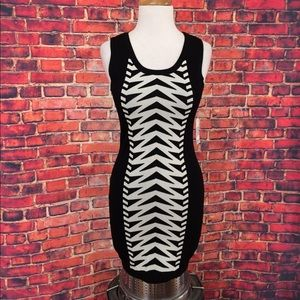 Bar III Dresses & Skirts - Bar III Black and Ivory Knit Dress Sizes S and M