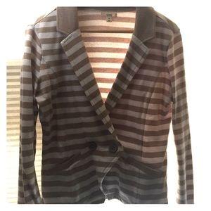 Beige and white striped blazer