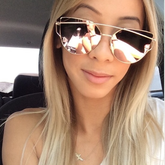 mirror sunglasses for women  60% off Nasty Gal Accessories - Rose Gold Mirrored Sunglasses from ...