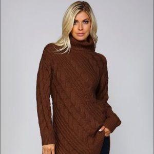 Rust/Chocolate Knit Turtleneck Tunic