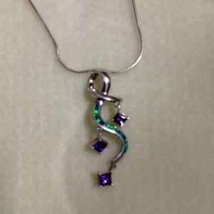 Sterling Silver Pendant w/Amethyst & Opal