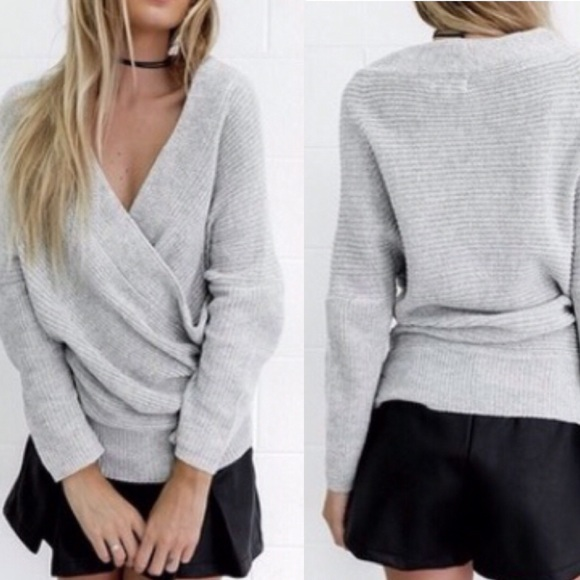 1 LEFT❗️NWT Gray Off Shoulder Wrap Sweater from Randie💋posh ...