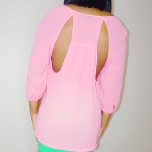 Urban Outfitters Tops - Urban Outfitters Pink Blouse with Back Cutouts