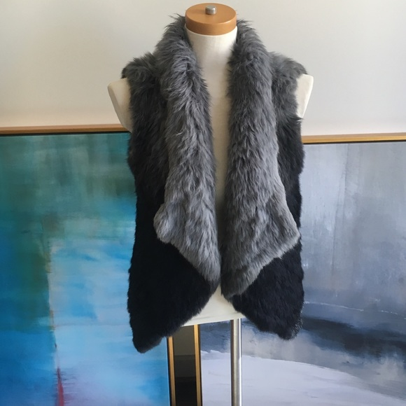 Love Token Jackets & Blazers - Love Token Black Gray Ombre Rabbit Fur Vest