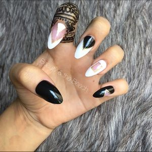 Chic black white stiletto nails