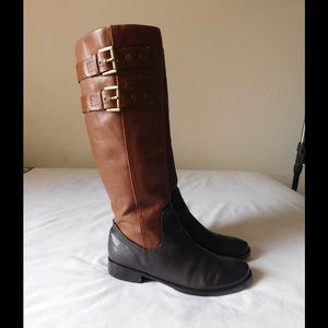 Shoes - Real Leather! Fancy Tan-Brown High Boots W/Buckles