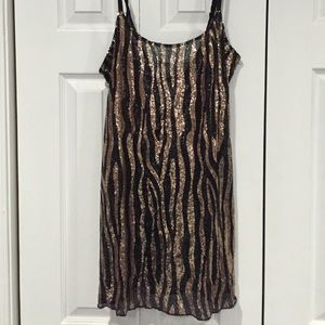 Free People Dresses & Skirts - Free People Gold and Black Sequence Slip Dress