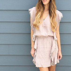| new | tan surplice dress