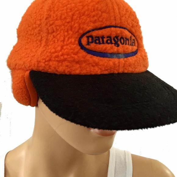 Patagonia retro fleece orange trapper cap hat. M 583e243f981829d21502bf58 912fbeca4eb