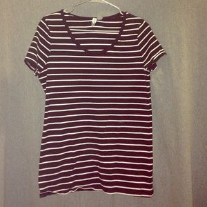 Basic black and white striped tee