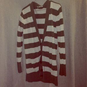 Olive and grey striped cardigan